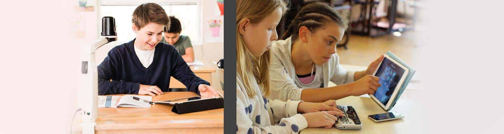 Braillezeile+Lesegerät in einer Schule